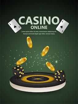 Realistisches casino-online-glücksspiel mit spielkarten und casino-chips