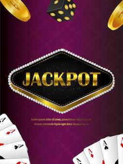 Realistisches casino-online-spiel mit spielkarten und goldmünze