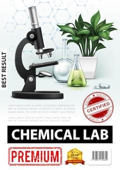 Realistisches chemisches laborplakat mit mikroskopglaslaborkolben-reagenzgläsern-pflanzen- und molekülstrukturillustration