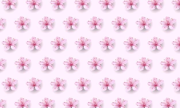Realistisches chinesisches rosa sakura-muster auf weichem rosenhintergrund. orientalischer textildesignschablonenblumenblütenfrühlingshintergrund. 3d-naturhintergrundillustration