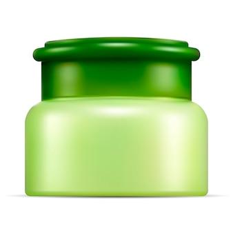 Realistisches cismetisches glasmodell. verpackung für sahne