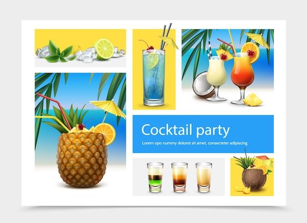 Realistisches cocktailparty-konzept mit tequila-sonnenaufgang-pina-colada-cocktails der blauen lagune alkoholische schussgetränke minze verlässt eiswürfel-limette