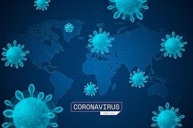 Realistisches coronavirus mit karte