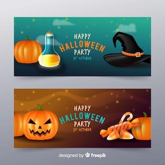 Realistisches design der halloween-fahnenschablone
