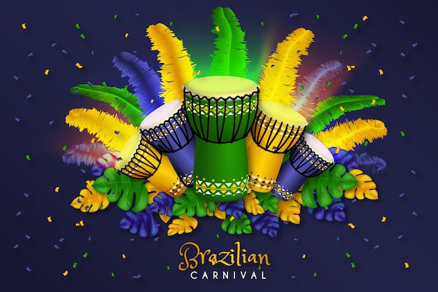 Realistisches design des brasilianischen karnevalshintergrundes