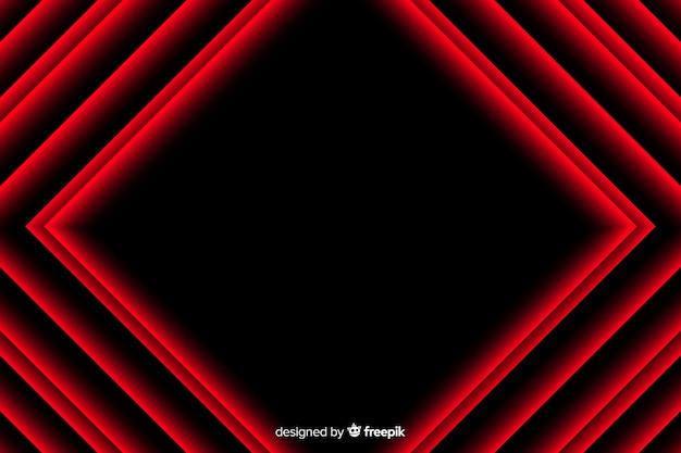 Realistisches design des geometrischen hintergrundes der roten lichter