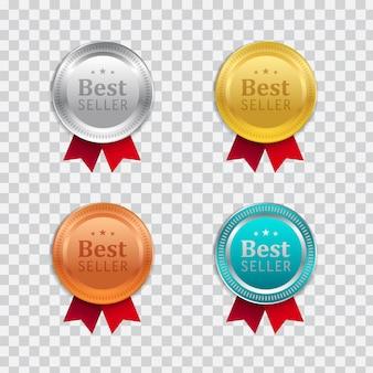 Realistisches design des goldenen abzeichens mit rotem band.