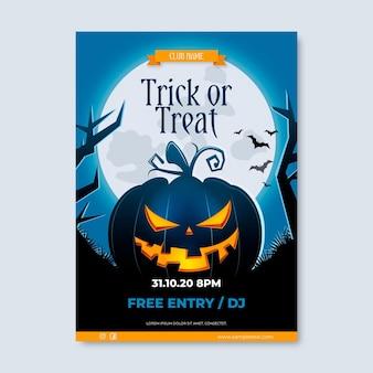 Realistisches design des halloween-partyplakats
