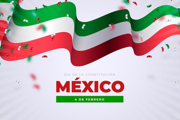Realistisches design des mexikanischen verfassungstages