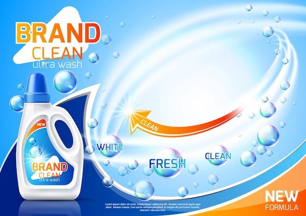 Realistisches design des reinigungsprodukts für waschmittel-werbekleidung