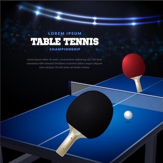 Realistisches design des tischtennishintergrunds