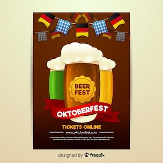 Realistisches design für oktoberfest-flyer