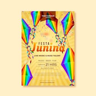 Realistisches design juni festival poster vorlage