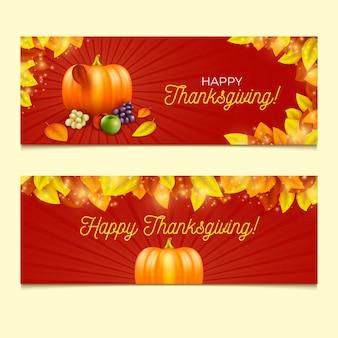 Realistisches design thanksgiving banner