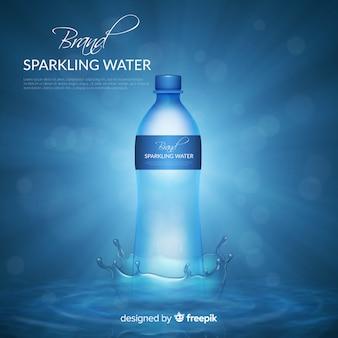 Realistisches design wasserflasche anzeige