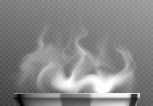 Realistisches designkonzept des weißen dampfes über pfanne auf transparentem hintergrund