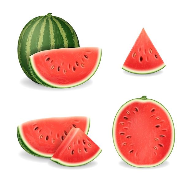Realistisches detailliertes 3d geschnittenes reifes rotes wassermelonenset
