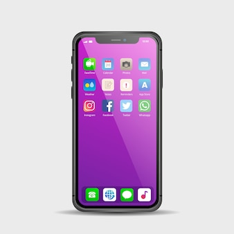 Realistisches display für smartphone mit verschiedenen apps