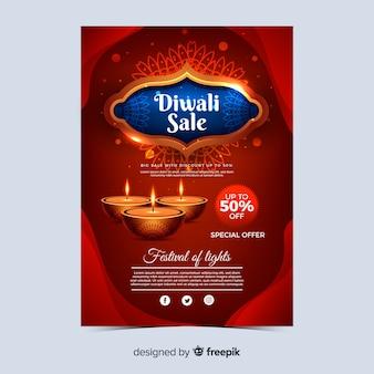 Realistisches diwali feiertagsverkaufsplakat