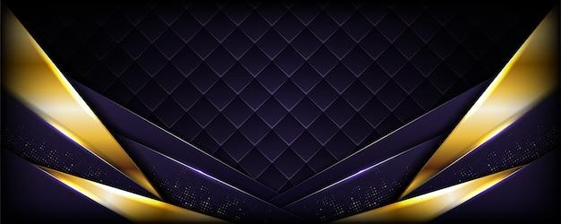 Realistisches dunkles purpur mit goldener linie strukturiertem hintergrund