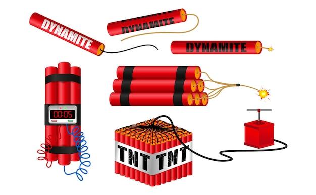 Realistisches dynamit mit brennendem docht oder realistische bombenkracher oder rotes bombenfeuerwerk