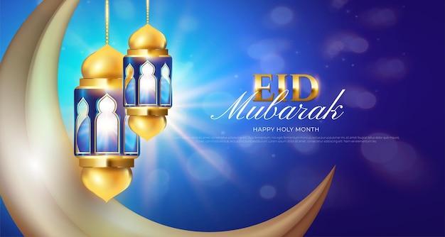 Realistisches eid mubarak blau mit laterne und mond