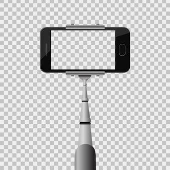 Realistisches einbeinstativ mit telefon auf dem transparenten hintergrund. vorlage für selfie-foto.
