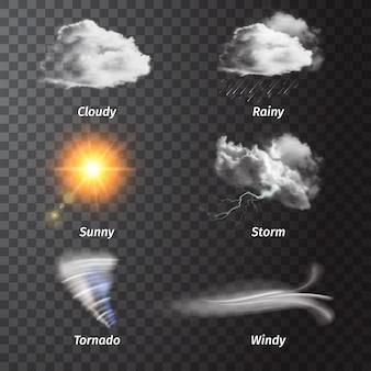 Realistisches eingestelltes wetterikone eingestellt mit wolkigen sonnigen sturm regnerischen windigen beschreibungen