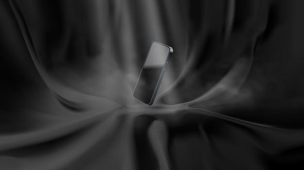 Realistisches, elegantes vorhangpodest aus schwarzem stoff für die präsentation oder präsentation von produkten. modernes 3d-smartphone