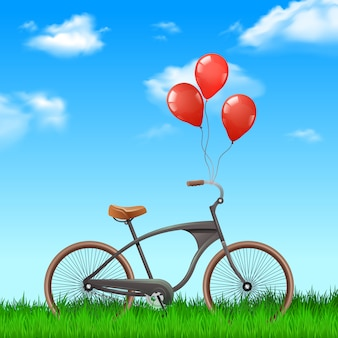 Realistisches fahrrad mit roten ballonen auf naturhintergrund