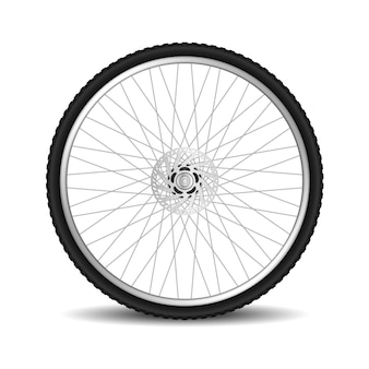 Realistisches fahrradreifenrad lokalisiert auf weiß