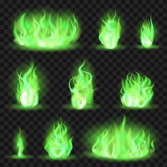Realistisches farbiges feuer. grüne feurige flamme, flammende flamme des magischen spiels, brennende farbschübe der flammenillustrationsikonen stellten ein. grüne giftige brennende, spielflammenfarbene sammlung