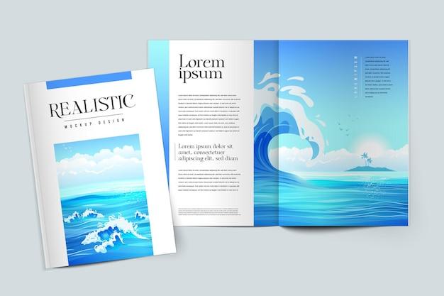 Realistisches farbiges mockup-design des zeitschriftencovers auf der illustration zum thema marine