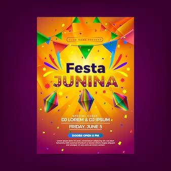 Realistisches festa junina plakat