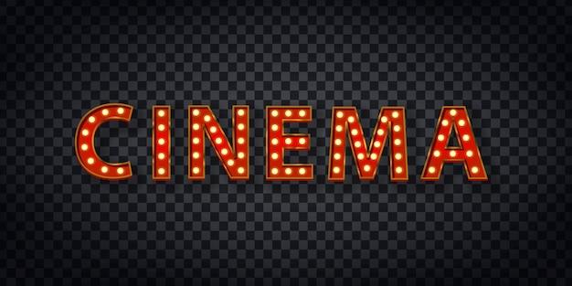 Realistisches festzeltzeichen des kino-logos für schablonendekoration und -abdeckung auf dem transparenten hintergrund. konzept von show und regisseur.