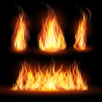 Realistisches feuer flammt konzept
