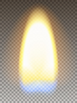 Realistisches feuer matchstickflamme mit gelbem und blauem abschnitt. transparenzraster