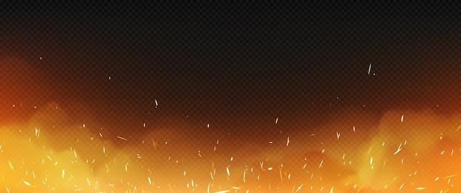 Realistisches feuer mit rauch und schweißfunken, flamme