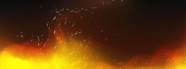 Realistisches feuer mit rauch und schweißfunken