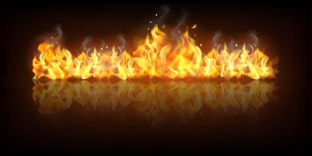 Realistisches feuerflammenbanner
