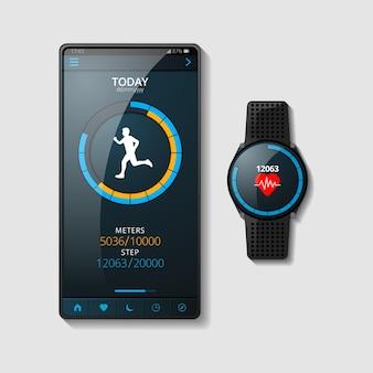 Realistisches fitness-tracker-konzept