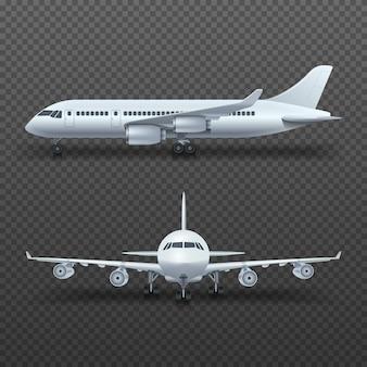 Realistisches flugzeug des details 3d, handelsjet lokalisierte illustration.