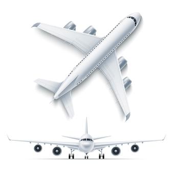 Realistisches flugzeugflugzeug weiß 3d gesetzt