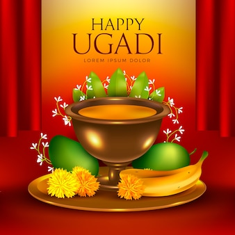 Realistisches fröhliches ugadi festliches thema