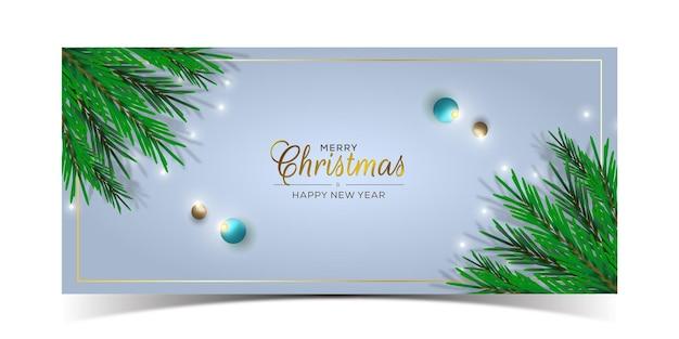 Realistisches frohe weihnachten-banner-design