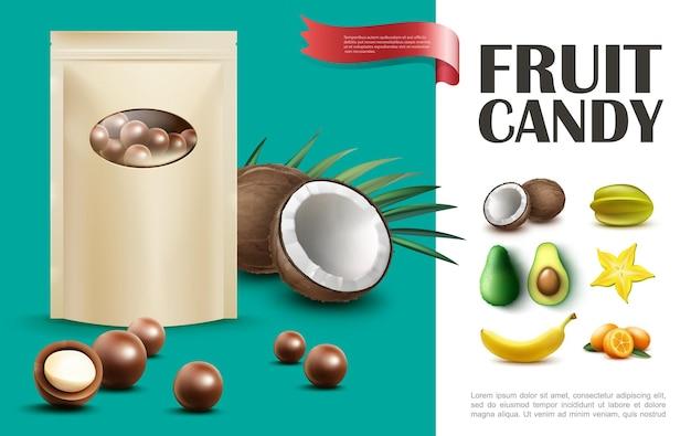 Realistisches fruchtbonbonkonzept mit beutel der schokoladenkugeln kokosnusskarambola-bananen-avocado-vanille-kumquat-illustration