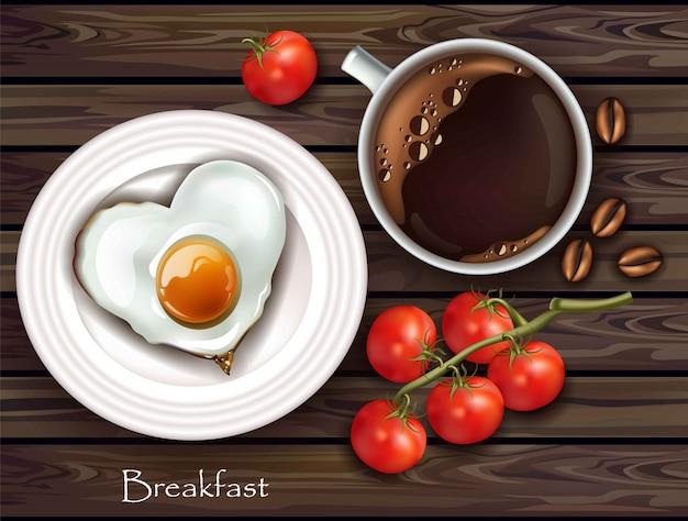 Realistisches frühstücksei und -kaffee des vektors. holz textur hintergrund. draufsicht