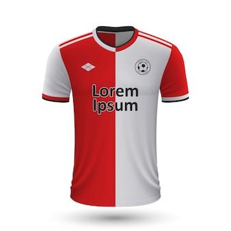 Realistisches fußballtrikot feyenoord 2022, trikotvorlage für footb