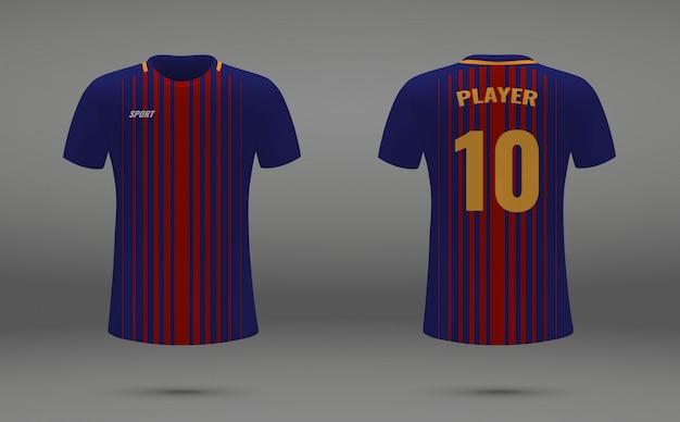 Realistisches fußballtrikot, t-shirt von barcelona, einheitliche vorlage für den fußball