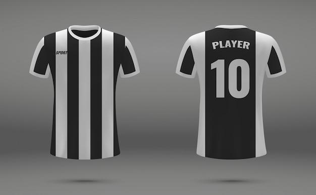 Realistisches fußballtrikot, t-shirt von juventus, einheitliche vorlage für den fußball